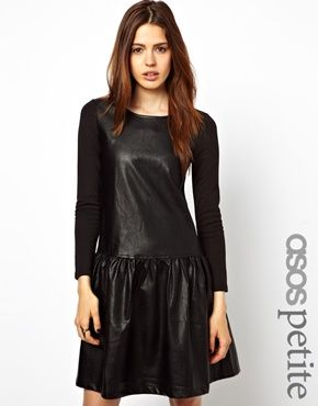 ASOS PETITE Exclusive Dropped Waist Leather Look Dress