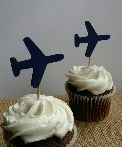 Airplane Cupcake Toppers, 12 Count, Airplane Party Decorations, Boy Birthday, Airplane Birthday,Party Decorations, Blue Airplanes by madgicalcreations on Etsy