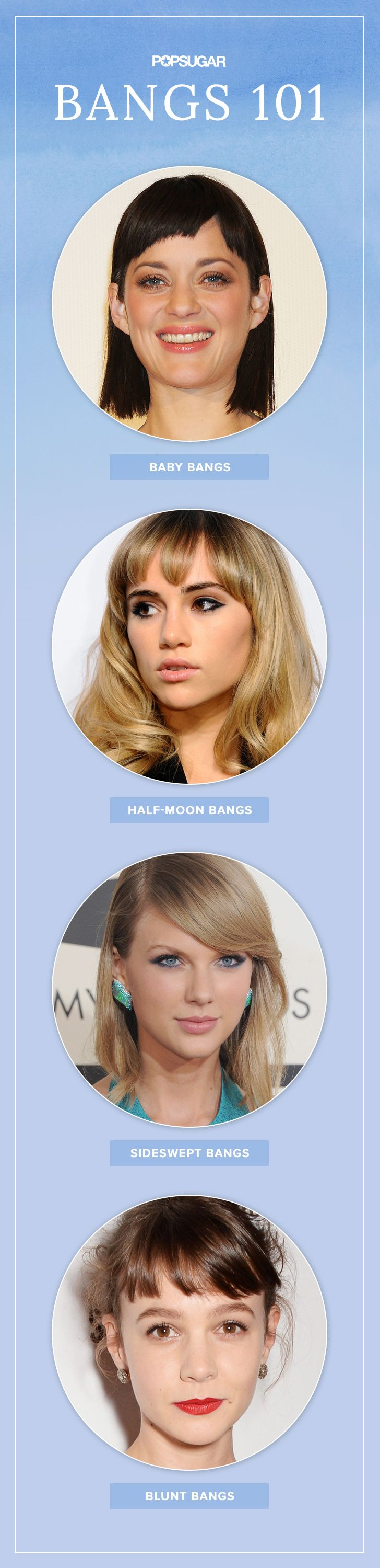 Thinking about getting bangs? This is fringe 101. You've got options: supershort, baby bangs, sideswept bangs, blunt bangs, layered bangs, or wispy half-moon bangs.
