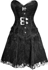Black Rose on Black Corset Dress