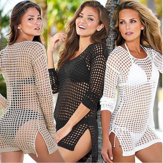 2016 Divat Női Szexi Üreges Fürdőruha Bikini Wrap Swimsuit Fel Horgolt Strand Viselet Ruha, nyári Ruha Pareo strand ruha