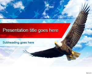 Free United States Bald Eagle PowerPoint Template has a patriotic theme with a reflection of the US flag in the light blue sky. A bald eagle flies across the sky with its wings open. Make a presentation on how to celebrate the 4th of July, and explain why the Bald eagle is an American symbol. Share ideas regarding the eagle pride with friends and colleagues. Encourage dignity, courage and freedom on Labor day with free backgrounds for PowerPoint template.