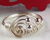 Fil d'argent anneau enroulé avec fil d'argent bague fil d'argent Sterling perles ternir Non enveloppé de bijoux ITEM0360