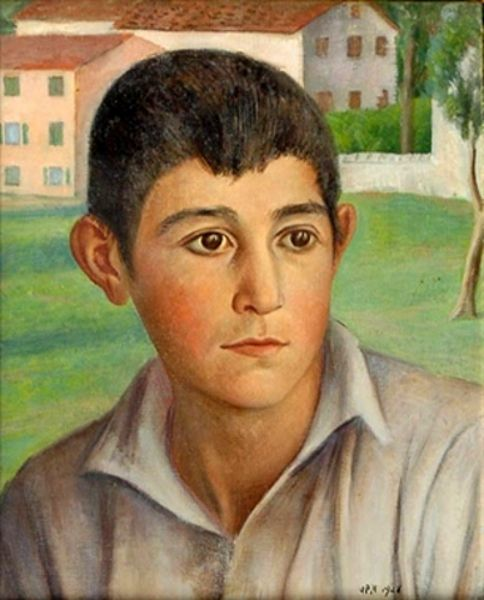 Boy's Face, by Ubaldo Oppi (Italian, 1889-1942)