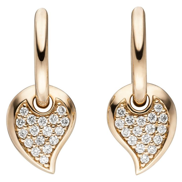 NEU Luxus Diamanten Creolen Ohrringe Tropfen 14 Karat Rosegold 585 echt Gold