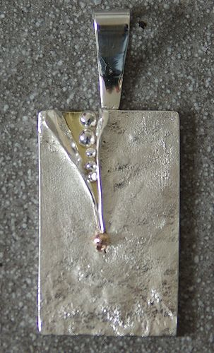 Contemporary textured sterling silver pendant with slash #Silver  #Pendant