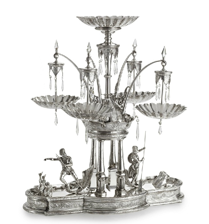 THE NEPTUNE EPERGNE: A MONUMENTAL AMERICAN SILVER-PLATED CENTERPIECE, MERIDEN BRITANNIA CO., MERIDEN, CONNECTICUT, CIRCA 1876