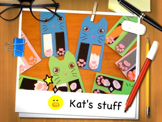 magnetic bookmark cat paw felt cute kawaii by Kats13stuff on Etsy
