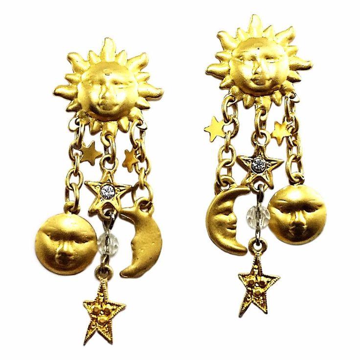 Celestial Drop Earrings Vintage Sun Moon Stars Gold Tone Pierced e864 #Unbranded #DropDangle