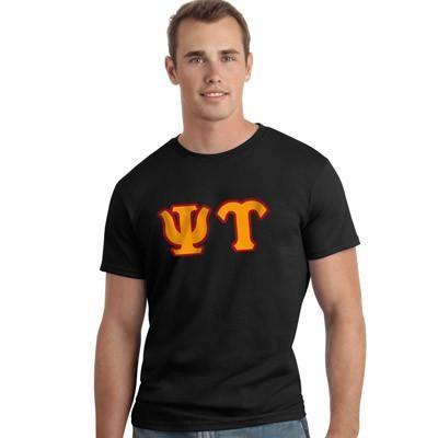 Psi Upsilon Letter T-Shirt - Gildan 5000 - TWILL