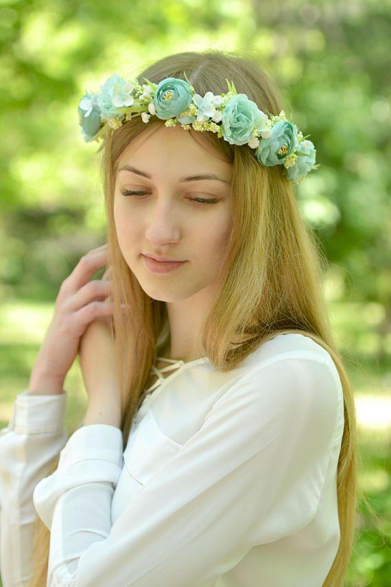 La muchacha de flor diadema menta flores corona nupcial menta  79063dbf13ff