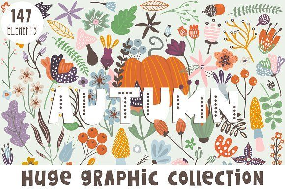 Autumn graphic collection , free graphics, graphic design tools, design resources, by solmariart on @creativemarket