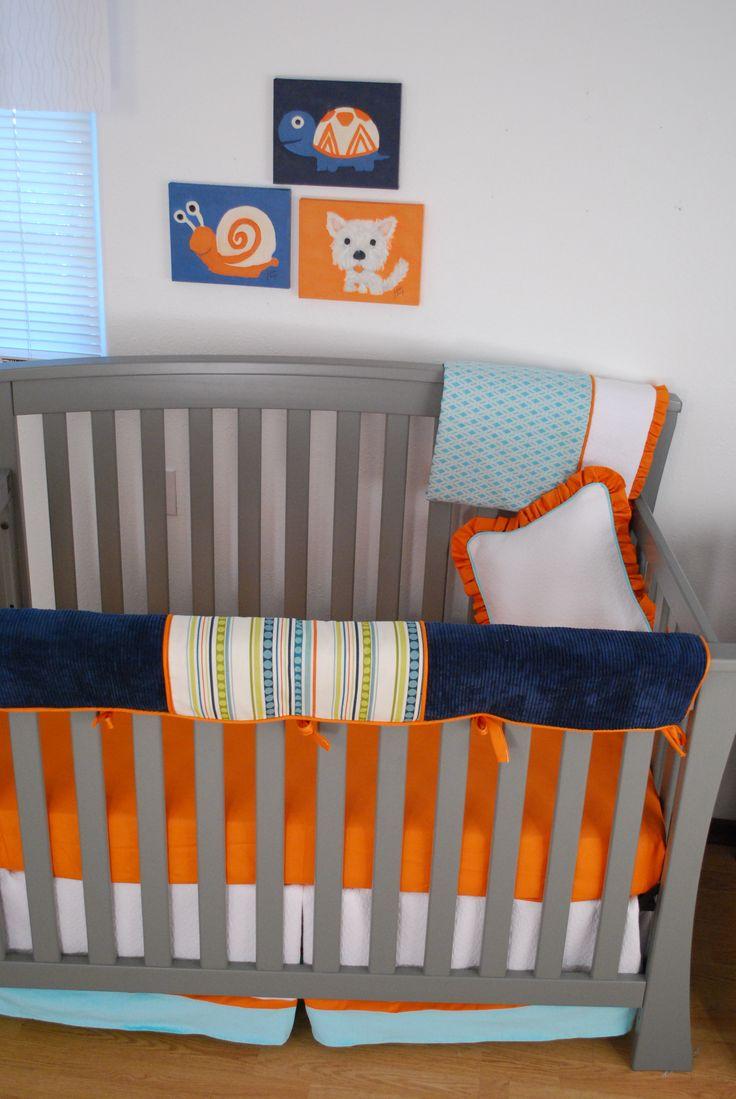 Navy aqua orange crib bedding with stripes diamond - Navy blue and orange bedding ...