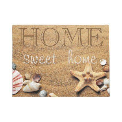 Praia, Areia, Estrela do Mar, Concha do Mar, Capacho para Casa Doce Lar | Zazzle.com   – beach seashell gifts