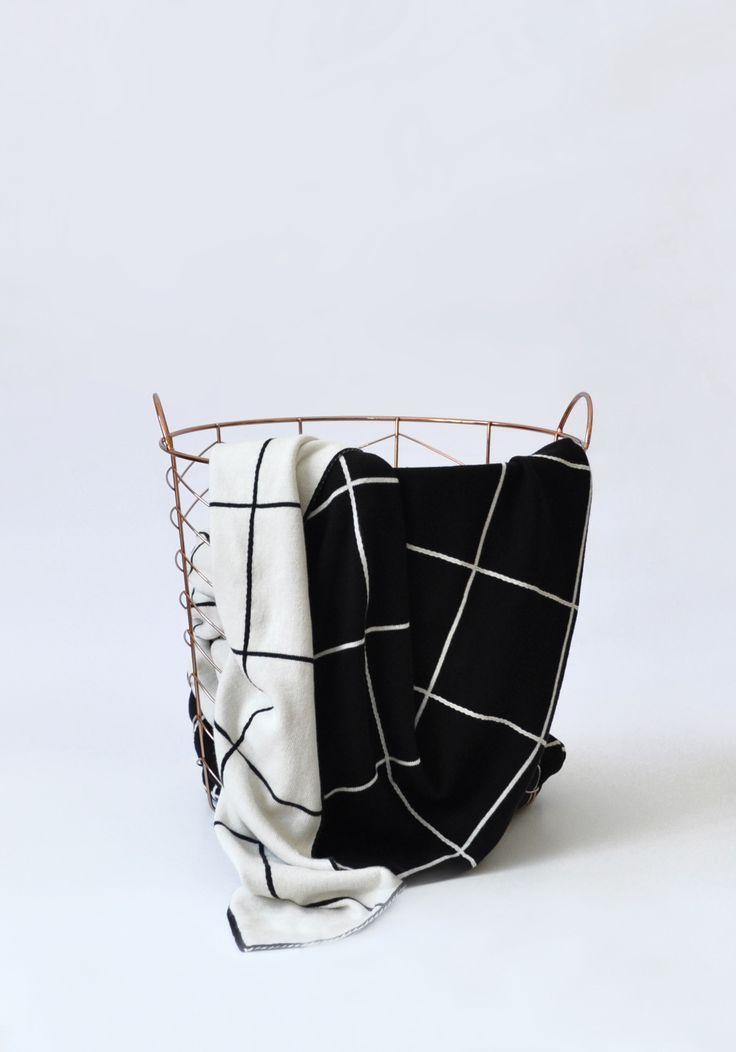 Black and white grid blanket