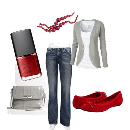 red flats, grey cardigan