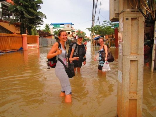 floods in Siem Reap in Cambodia in October 2011