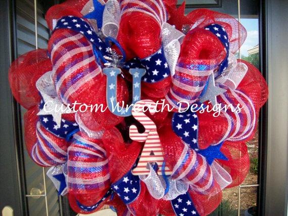 USA Deco Mesh Wreath: Crafts Ideas, Deco Mesh 4Th Of July Wreaths, Holidays Decor, July 4Th, Usa Deco, Wreaths 4Th, Deco Mesh Wreaths, Wreaths Ideas, Wreaths Doors Decor