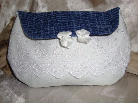 Lacey embellished blue and white Bag by OneGoldenCloud on Etsy