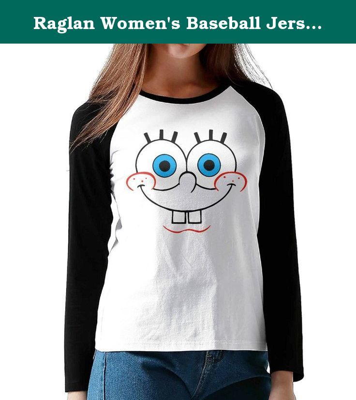 Raglan Women's Baseball Jersey Tee Shirt Sponge Bob Squarepants Face Of Bob. This Is An Awesome Casual Shirt That Is Great To Throw On With Jeans, Leggings Or Sweatpants.