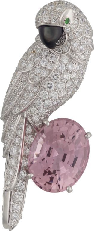 Cartier Fauna and Flora brooch Platinum, sapphire, mother-of-pearl, emeralds, diamonds
