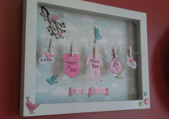 Baby Shadow Box with Cheerful Bird Background