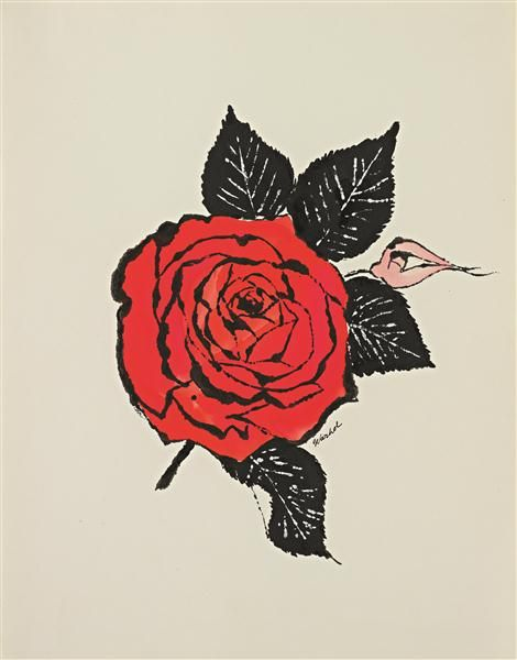 ANDY WARHOL Untitled Red Rose C 1955  Andy Warhol