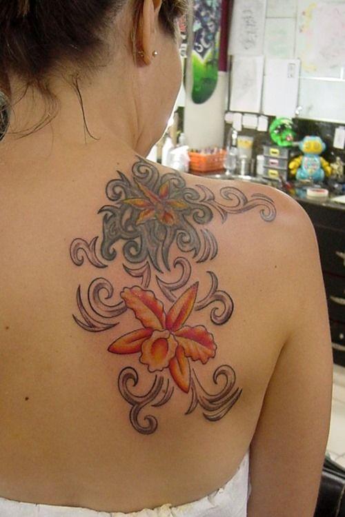 Back Shoulder Orchid Flower Tattoos for Girls