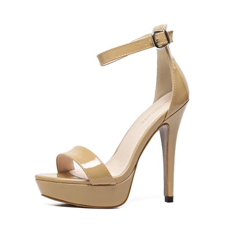 Woman Summer Sandals Concise Ankle Buckle Strap Open Toe Sandals Stilettos High Heel Shoes Platform Stripper Heel Pumps OL Shoes