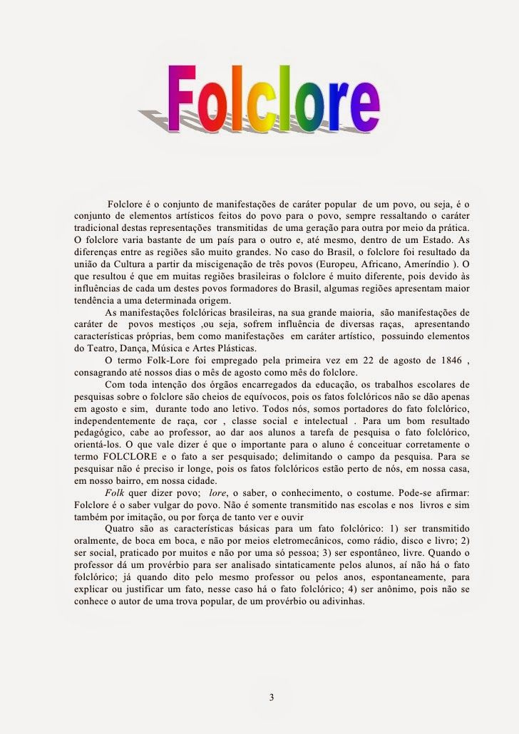 ESPAÇO EDUCAR: Apostila: tudo sobre Folclore!                              …
