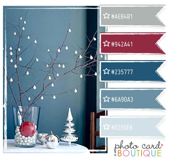 Merlot wine, gray & blue....I like these colors for a boys room with maybe a vintage baseball theme.