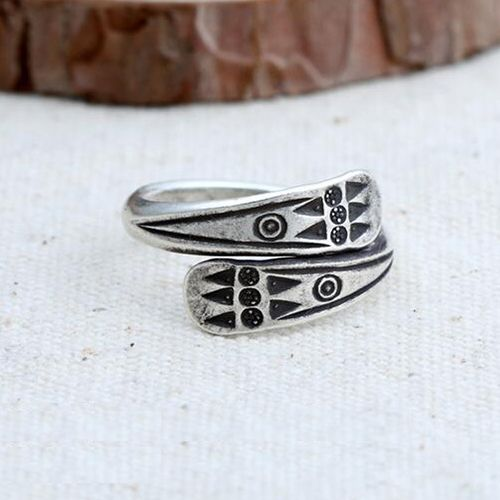 Women's Sterling Silver Oxidized Totem Wrap Ring   – Men's Accessories