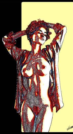 Tableau femme nue art peinture moderne abstrait contemporain coloré