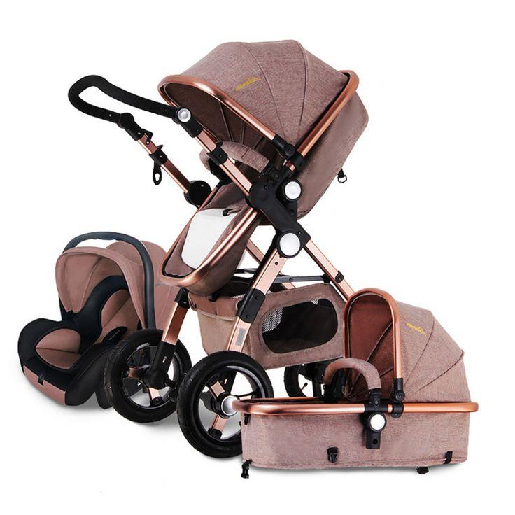 Kinderwagen 3 in 1 mit Autositz Für Neugeborene hoch Ansicht Kinderwagen Falten Kinderwagen 2 in 1 Travel System