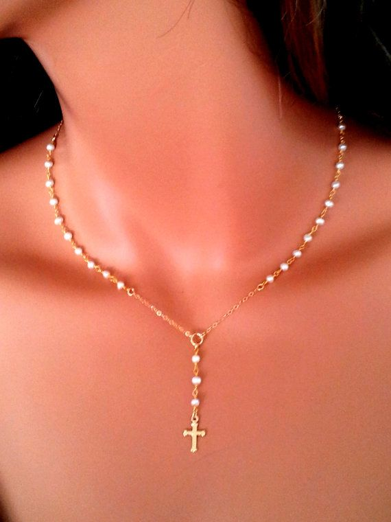 Petite Pearl Rosary Necklace Women Cross Pendant  Rosaries 14kt Goldfilled Freshwater Pearls Cross Spiritual Faith, $65.00