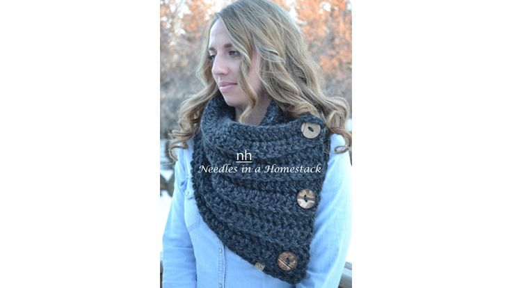 3 Button Chunky Cowl, Wrap, Crochet Scarf, Charcoal, Grey, Black by NeedlesinaHomestack on Etsy