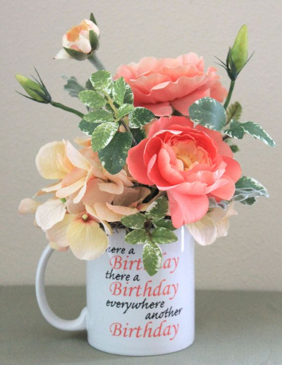 Small Birthday Centerpiece, Happy Birthday Gift, Gift for the Boss, Flower Arrangement, Unique Flower Gift, Coffee Mugs, Special Friend Gift