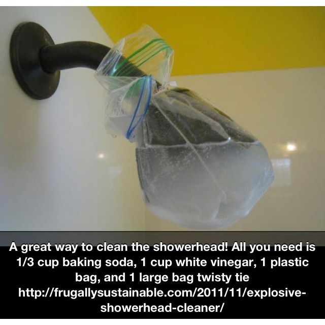 Clean shower head with baking soda and vinegar - I tried this but not sure if it made much difference - it still had spots on it
