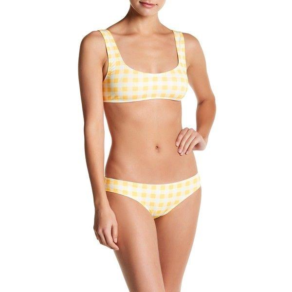 SOLID & STRIPED Elle Gingham Print Bikini Top (53 AUD) ❤ liked on Polyvore featuring swimwear, bikinis, bikini tops, mrgld gnghm, swimming bikini, strappy bikini top, striped bikini top, strappy swimsuit top and stripe bikini