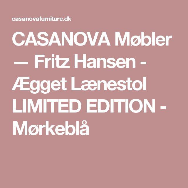 CASANOVA Møbler — Fritz Hansen - Ægget Lænestol LIMITED EDITION - Mørkeblå