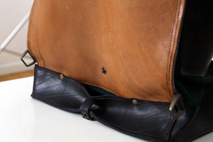 Doppio fondo in camera d'aria riciclata con tasca segreta.