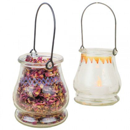 Hanging Glass Jars are pretty versatile. Use them as Candles, Tea Light Holders or even to hold a potpourri mix!