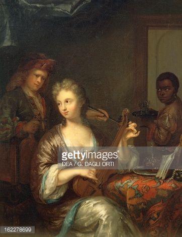 Musician strumming viola, by Caspar Netscher (1639-1684), Netherlands, 17th century : Fine art