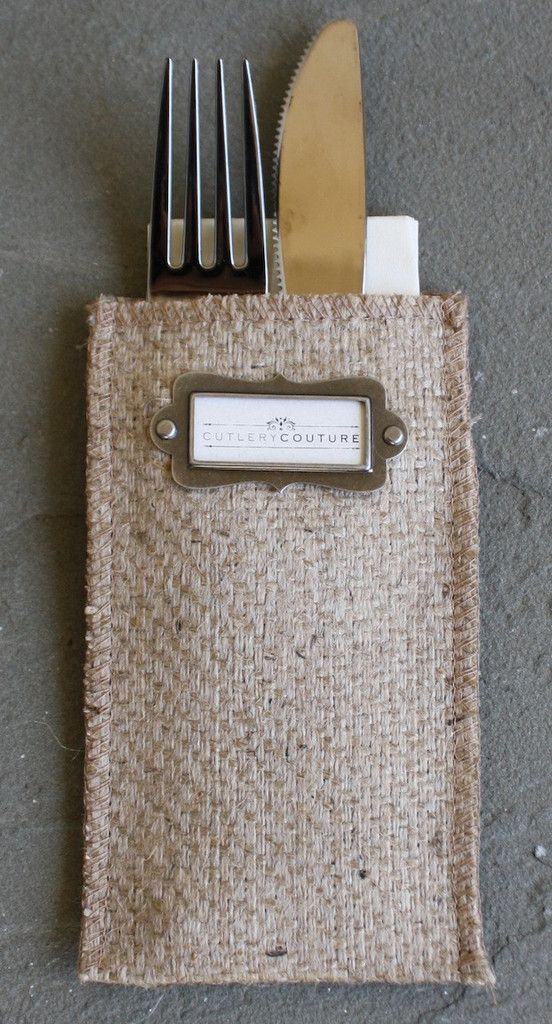 Message Maker Burlap Silverware Pouch - a unique option as a place card for a table setting.