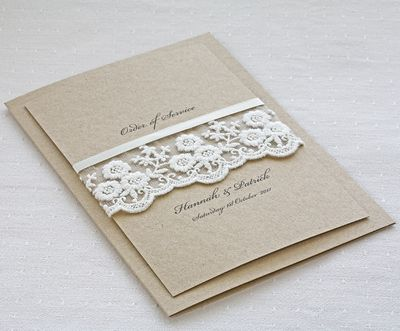 Rustic Lace order of service printed on recycled kraft brown card with ivory lace trim for the perfect rustic wedding stationery range. Folded card design. The printed insert (2 sides of A5) is included in the price, should you have a lot of text, you can opt for extra sides / pages - please see dropdown options. Rustic Lace order of service cards are 148x210mm. A full range of wedding stationery is available to compliment the Rustic Lace order of service cards. Please note ...