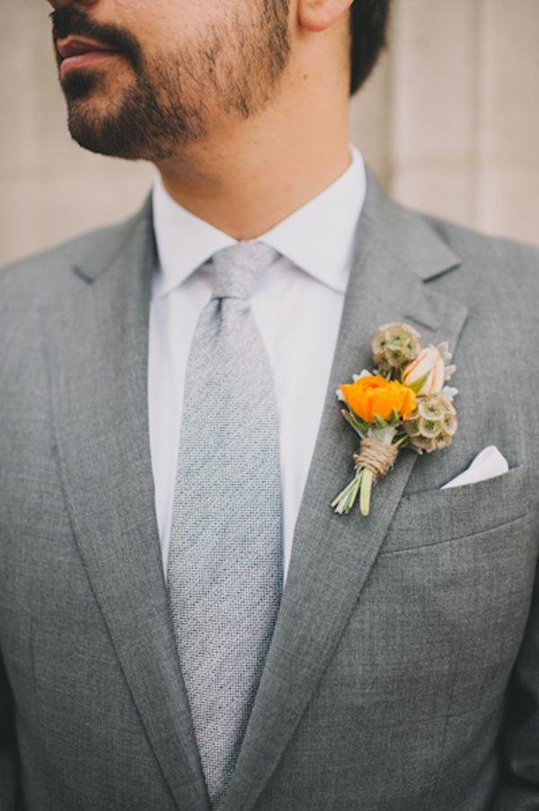 Scabiosa pods boutonniere - Santa Monica Garden Wedding captured by Heidi Ryder - via ruffled