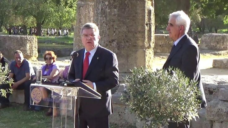 Ancient Olympia, April 21, 2016 - Address by the President of the International Olympic Committee (IOC) Dr. Thomas Bach after signing the Olympic Truce Declaration at the Temple of Hera in the Archaeological Site of Ancient Olympia (Greece).