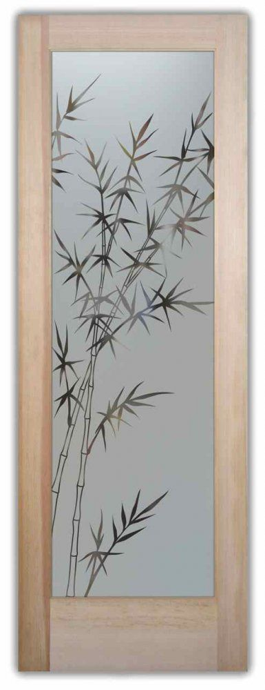 Interior Glass Doors Door Glass Inserts Frosted Bamboo Stalks