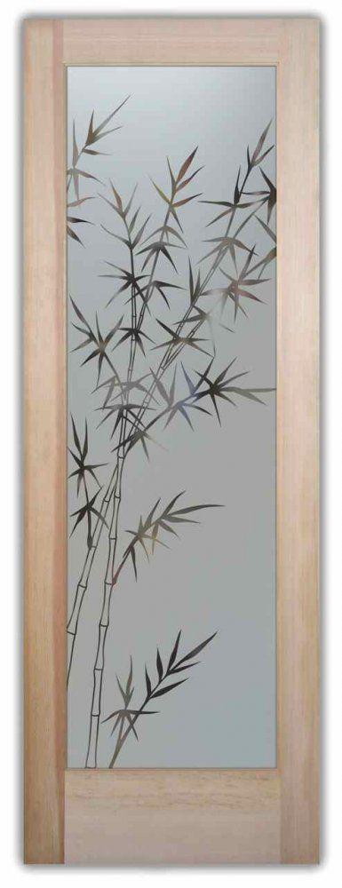 Interior Glass Doors Door Glass Inserts Frosted Bamboo Stalks