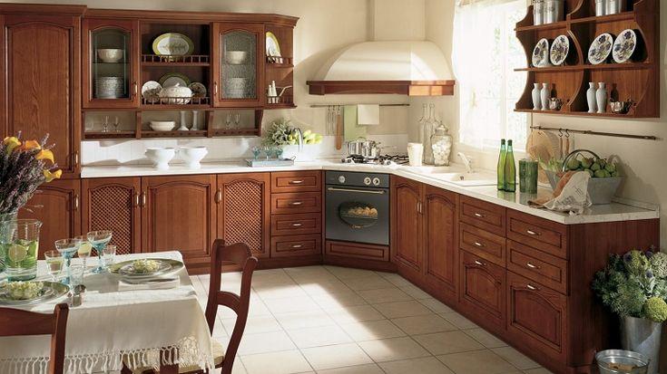 cucine componibili ad angolo-legno-scuro
